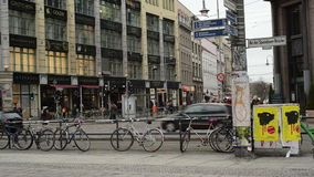 Traffic at Berlin district Mitte at Hackescher Markt. MITTE, BERLIN/ GERMANY FEBRUARY 10 2015: Traffic at Berlin district Mitte at Hackescher Markt. cars are stock footage