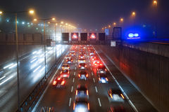Traffic on Berlin highway at night Royalty Free Stock Images