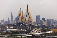 Traffic at Bhumibol bridge in Bangkok , Thailand. Royalty Free Stock Photos