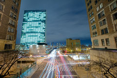 Traffic in the big city - crossroad and cars, long exposure Stock Photo
