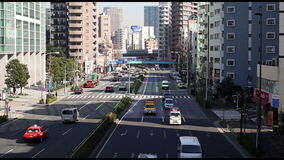 Traffic at the big street in Tokyo stock video