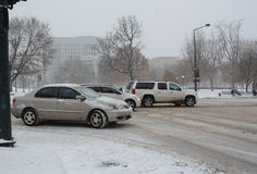 Traffic in blizzard Stock Photography