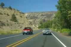 Traffic blur - highway through Central Oregon Stock Photos