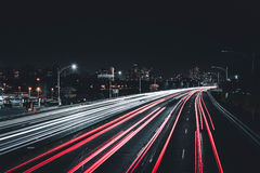 Traffic blur on road at night Royalty Free Stock Photography