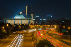 Traffic blurs along the parkways of Seoul City at Night,korea. Royalty Free Stock Image
