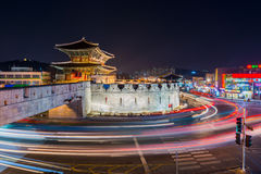 Traffic blurs past Janganmun Gate at Hwaseong Fortress in Suwon, Royalty Free Stock Photography