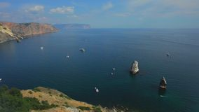 Traffic Of Boats On The Sea stock footage