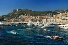 Traffic boats and yachts off the coast of the Kingdom of Monaco Royalty Free Stock Photography