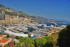 Traffic boats and yachts in port of  the Kingdom of Monaco Stock Images