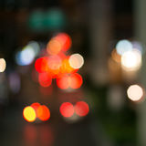 Traffic bokeh at night on the blurred background Stock Photos