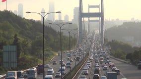 Traffic on Bosporus Bridge stock footage
