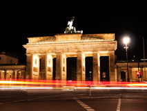 Traffic at brandenburger tor royalty free stock photography