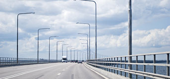 Traffic on a bridge Stock Images