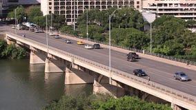 Traffic on the bridge in Austin, Tx, USA. Traffic on the bridge over Colorado River in Austin city. April 11, 2016 in Austin, Texas, USA stock footage