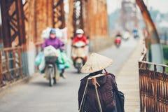 Traffic on the bridge in Hanoi Royalty Free Stock Photography