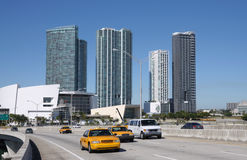 Traffic on the Bridge, Miami Royalty Free Stock Photo