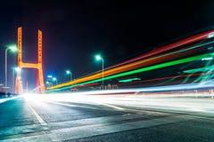 Traffic on bridge at night in nanchang Stock Images