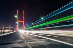 Traffic on bridge at night in nanchang Royalty Free Stock Photos