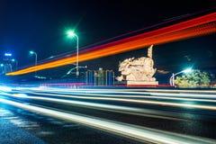 Traffic on bridge at night in nanchang Stock Image