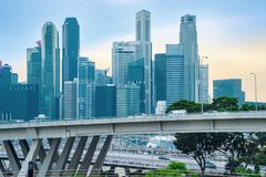 Traffic on bridge of Singapore downtown royalty free stock photos