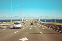 Traffic on the bridge, St. Petersburg Royalty Free Stock Images