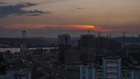 Traffic on the bridge. Sunset. Time laps. The traffic on the South Bridge, Kyiv, Ukraine. Full HD stock video footage