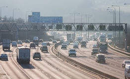 Traffic on the British motorway M25 in a sunset time. Stock Image