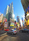 Traffic on Broadway and 7th Avenue in Times Square Stock Image