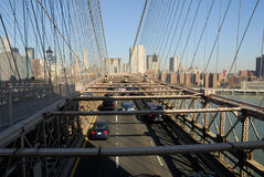 Traffic on the Brooklyn Bridge Stock Images