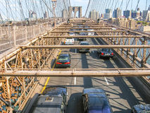 Traffic on the Brooklyn bridge Royalty Free Stock Images