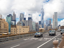 Traffic on the Brooklyn Bridge in New York Royalty Free Stock Images