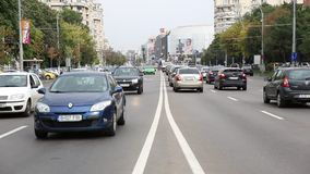 Traffic in Bucharest close to Unirii Boulevard stock video footage