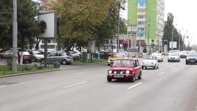 Traffic in Bucharest close to Unirii Boulevard stock video