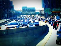 Traffic building up stock photography