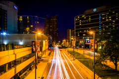 Traffic and buildings on Charles Street  at night, in the Inner Royalty Free Stock Photography