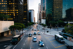 Traffic and buildings on Figueroa Street  Stock Photos