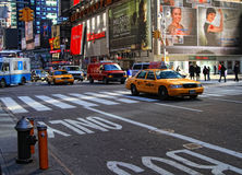 Traffic and buildings in Times Square, NY Stock Image
