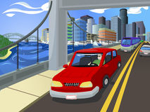 Traffic on a Busy City's Bridge Royalty Free Stock Photography