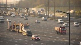 Traffic on busy motorway stock video footage