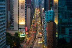 Traffic in a busy street in Hong Kong Royalty Free Stock Photos
