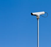Traffic camera. Pole mounted camera for traffic detection at intersection using video analytics Stock Photo