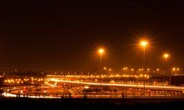 Traffic car light stream at night Stock Image