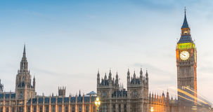 Traffic car lights and Westminster Bridge with Big Ben on backgr Royalty Free Stock Photography
