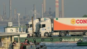 Traffic of cargo and passenger water transport stock footage
