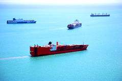 Traffic of cargo ships Stock Images