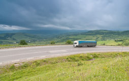 Traffic at the Carpathian Mountains road Stock Images