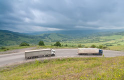 Traffic at the Carpathian Mountains road Royalty Free Stock Images
