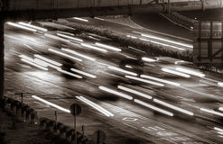 Traffic of cars and lights Royalty Free Stock Images