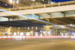 Traffic of cars in Moscow city center at night Prospekt Mira, Russia Royalty Free Stock Photo