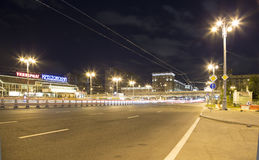 Traffic of cars in Moscow city center at night Prospekt Mira, Russia Stock Photo